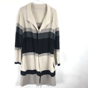 Chicos Long Open front Cardigan Pockets Stripes XL